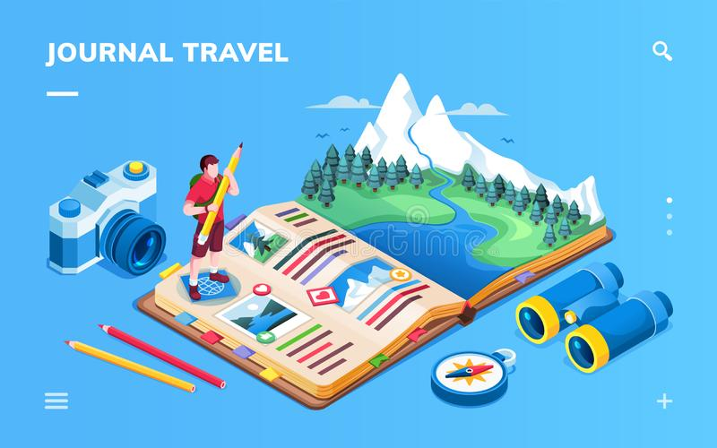 Isometric screen for travel journal or photo album stock illustration