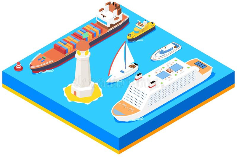 Isometric sea ships vector set stock illustration