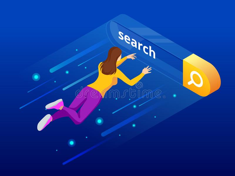 Isometric Search bar modern concept. Search engine optimization and web analytics elements. Vector interface element royalty free illustration