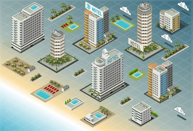 Isometric Seaside Buildings stock illustration