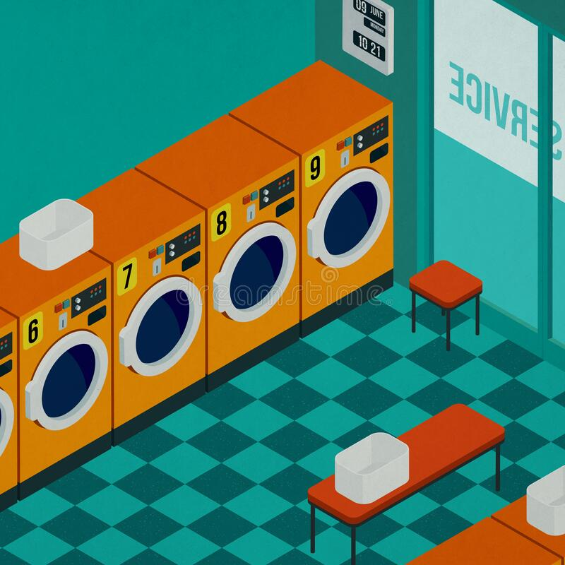 Isometric self-service laundry interior with washing machines royalty free stock images