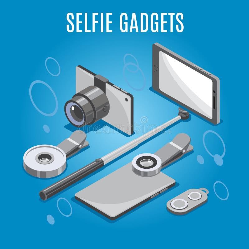 Isometric Selfie Gadgets Background royalty free illustration
