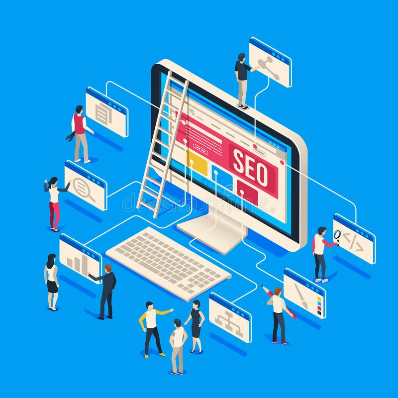 Isometric seo agency. Creative people startup develop team creating together on computer. 3d seo vector illustration. Isometric seo agency. Creative people royalty free illustration