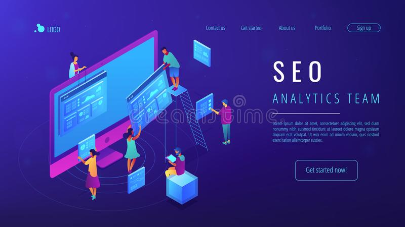 Isometric SEO analytics team landing page. Isometric IT specialists working with web pages and charts landing page. Seo analysis and optimization, seo stock illustration