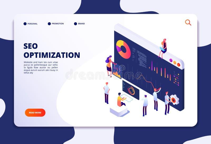 Isometric seo pojęcie Wyszukiwarki optymalizacja, medialny marketing i sieci biznesowi narzędzia, Seo usługi desantowy wektor ilustracji