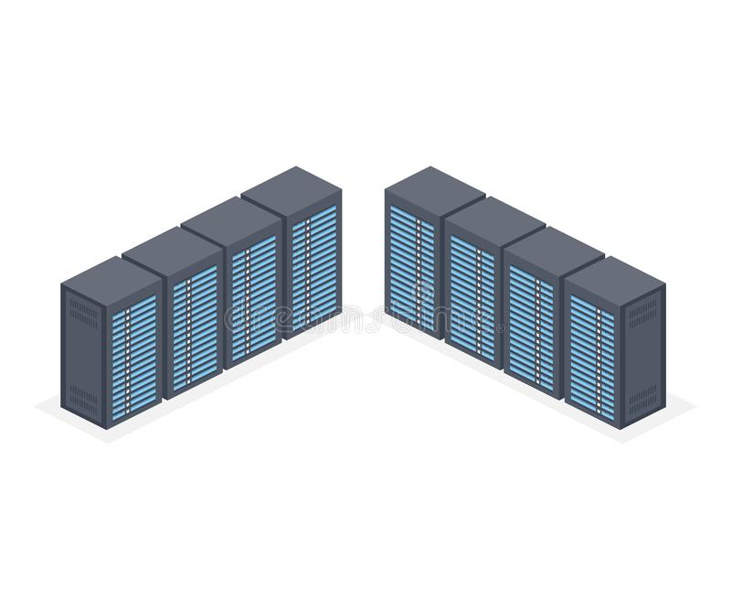 Isometric Server room and big data processing concept, datacenter and data base icon, digital information technology royalty free illustration