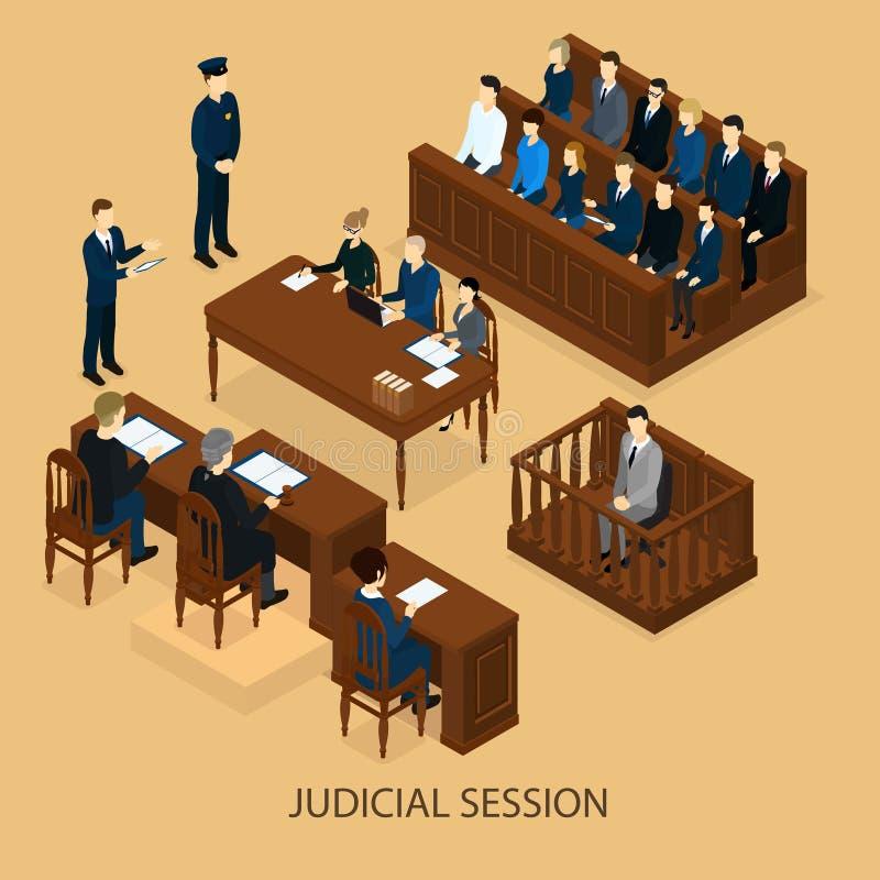Isometric sesja sądowa szablon ilustracja wektor