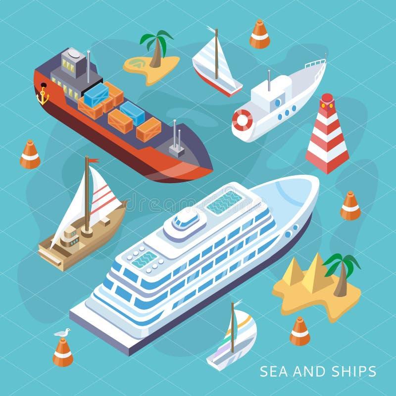 Isometric setów statki Morze transport royalty ilustracja