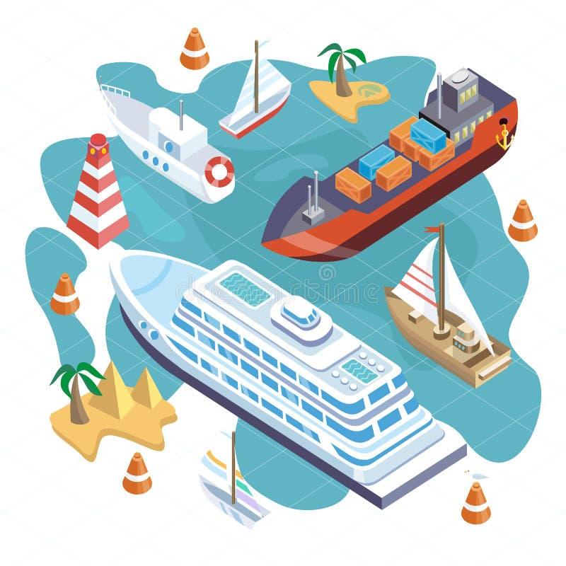 Isometric setów statki Morze transport ilustracji