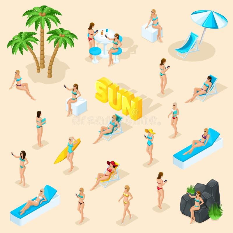 Free Isometric Set 3d Girl In Bathing Suits Beach, Sunbathing, Stones, Big Word Sun Summer Vector Illustration Royalty Free Stock Photo - 134494355