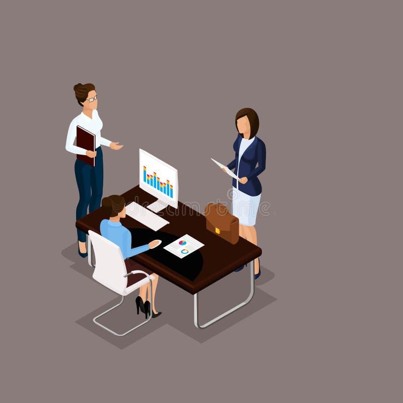Isometric Set Business Conception stock illustration