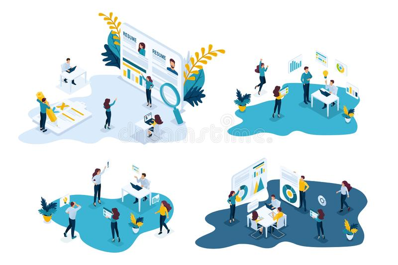 Isometric set of business concepts, recruiting, resume, team, office, brainstorming, business training stock illustration