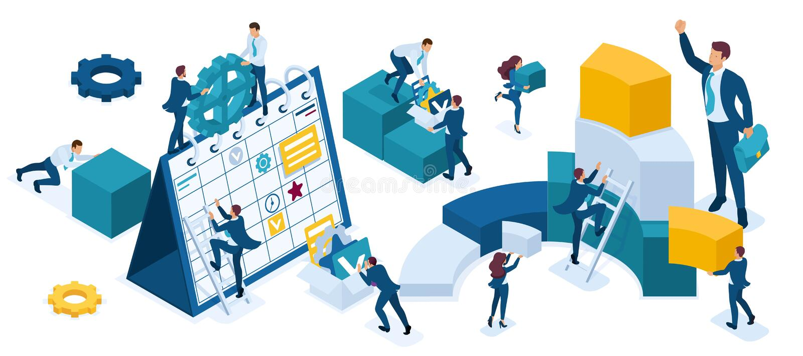 Isometric set of business people who make up planning, data collection, graphs, charts, young businessmen stock illustration