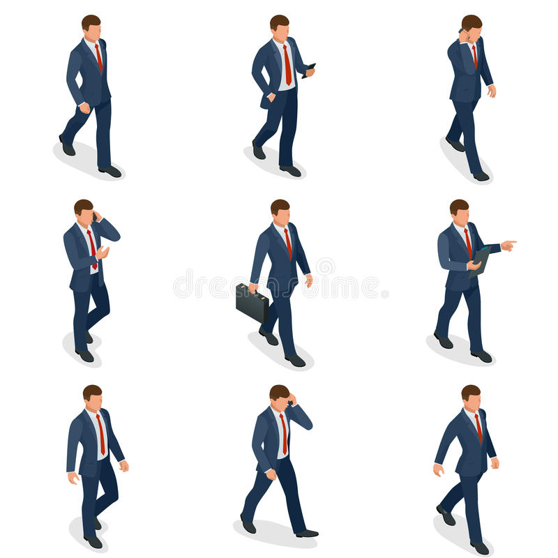Isometric set of Businessman and businesswoman character design. People isometric business man in different poses stock illustration