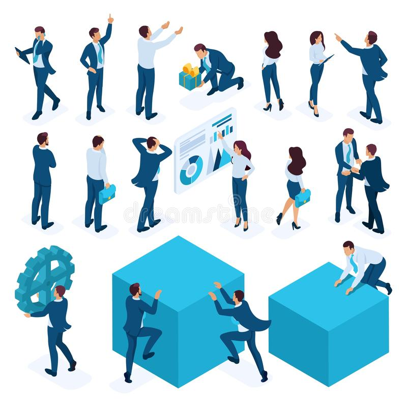 Isometric set of businessmen, businesswoman, employees, managers, Directors. Vector illustration. Isometric set of businessmen, businesswoman, employees royalty free illustration