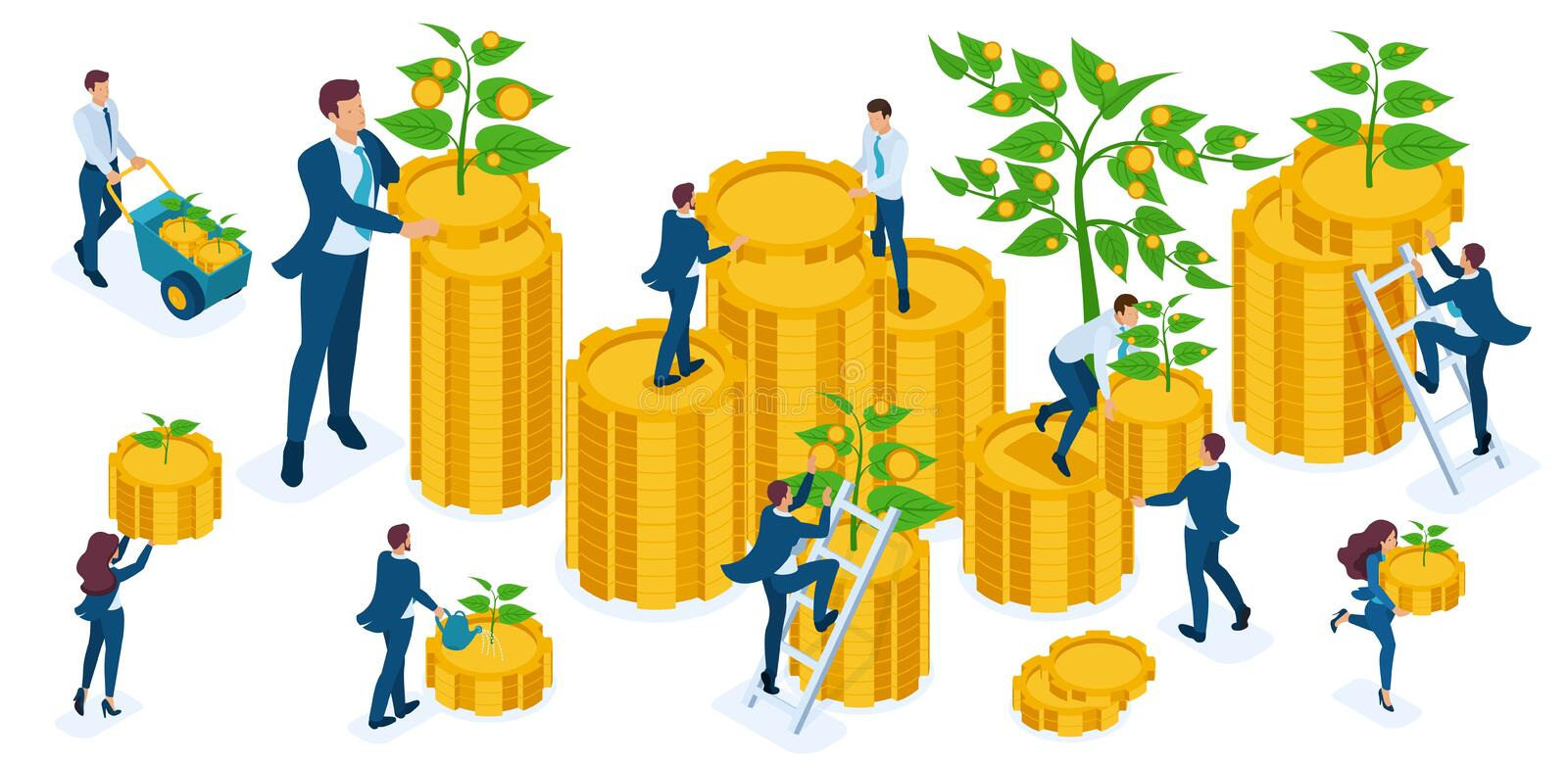 Isometric set of businessmen, investors, bankers, revenue growth, coins, cash, capital investment stock illustration