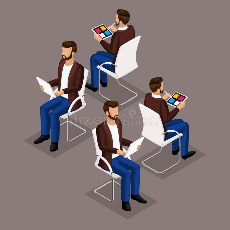 Free Isometric Set Businessmen Sitting On A Chair Royalty Free Stock Images - 135768049