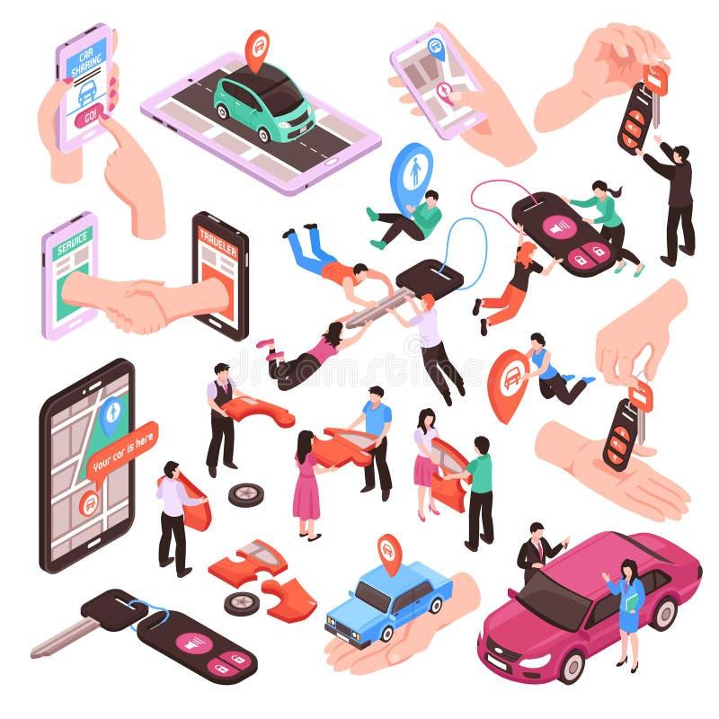 Car Sharing Set royalty free illustration