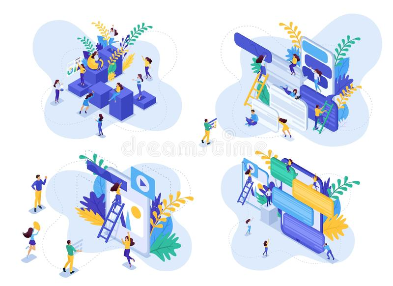 Isometric Set concept career ladder for women, communication of young people in social networks. Modern vector illustration stock illustration