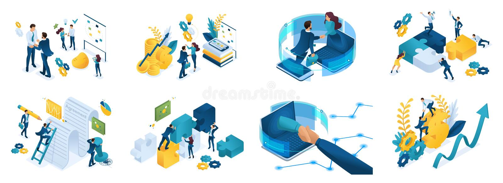 Isometric set of concepts on the topic of online cooperation, agreement, financing of projects, online consultation, partnership stock illustration