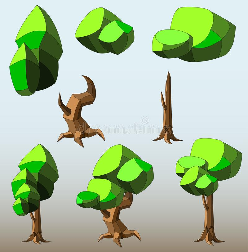 Isometric set of different low poly trees and shrubs stock illustration
