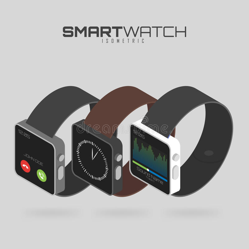 Isometric set of different types of smart watches. on white background for your projects and infographics. Isometric set of different types of smart watches stock illustration
