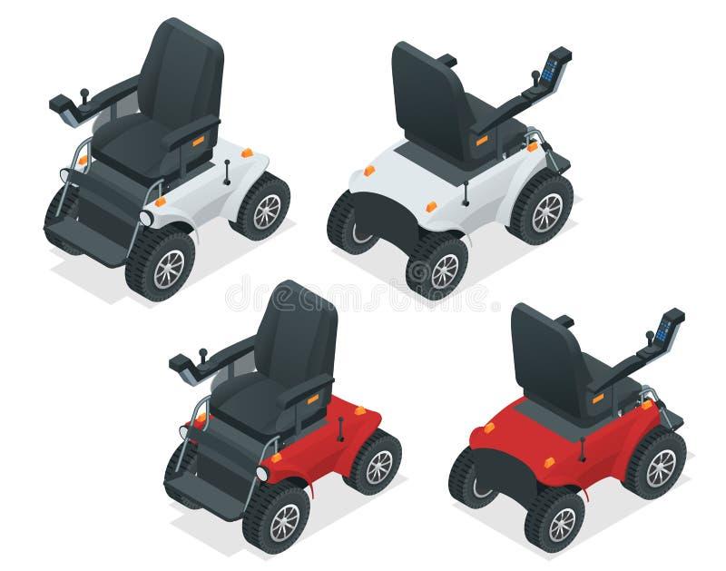 Isometric set elektryczny wózek inwalidzki Nowej ampuły zmotoryzowany elektryczny wózek inwalidzki Mobilna hulajnoga ilustracja wektor