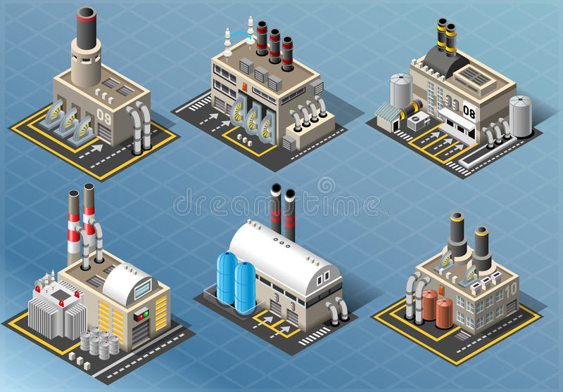 Isometric Set of Energy Industries Buildings royalty free illustration
