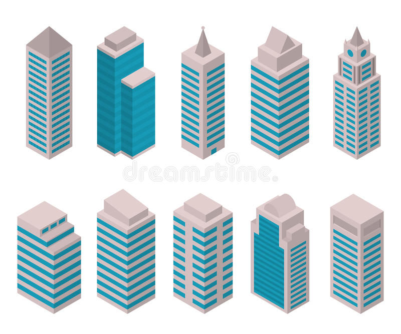 Isometric set of European high-rise buildings on a white background. stock illustration