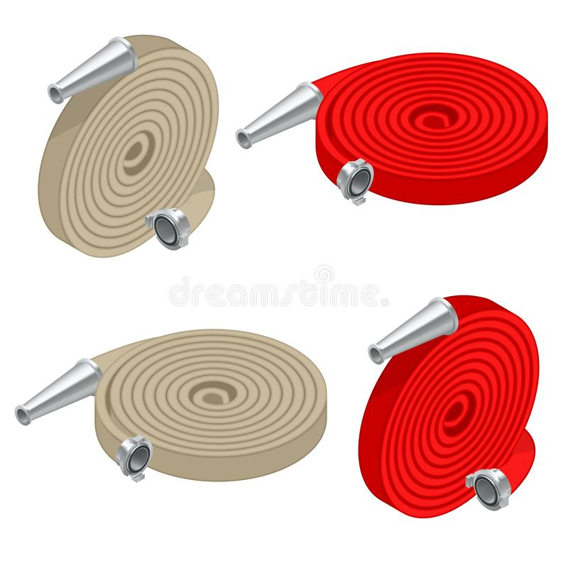Isometric set of fire hoses. Fire safety and protection. Rolled into a roll, red fire hose with aluminum connective vector illustration