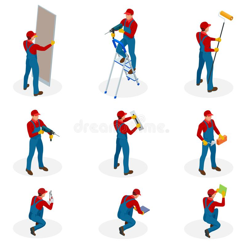 Isometric set with Home repair workers doing maintenance, industrial contractors workers people. Isolated over white. Background stock illustration