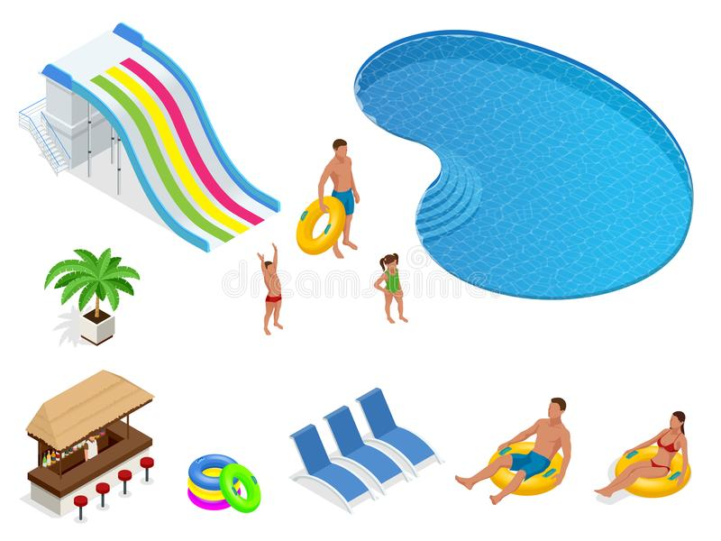 Isometric set icons of Summer water park holiday . Swimming pool and water slides. Vector illustration isolated on white. Isometric set icons of Summer water royalty free illustration