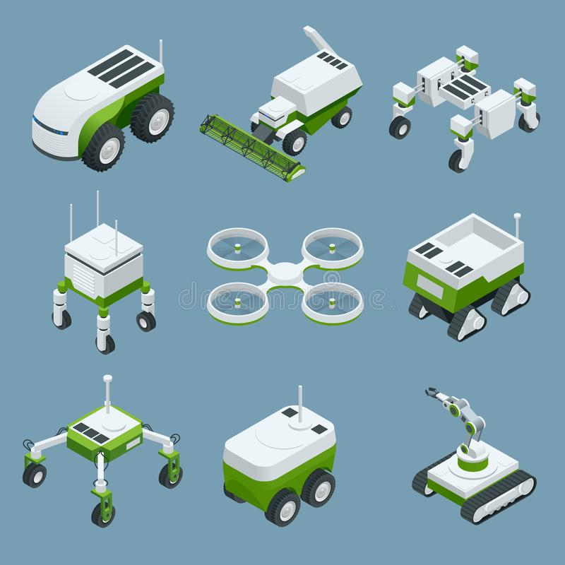 Isometric set of iot smart industry robot 4.0, robots in agriculture, farming robot, robot greenhouse. Agriculture smart vector illustration