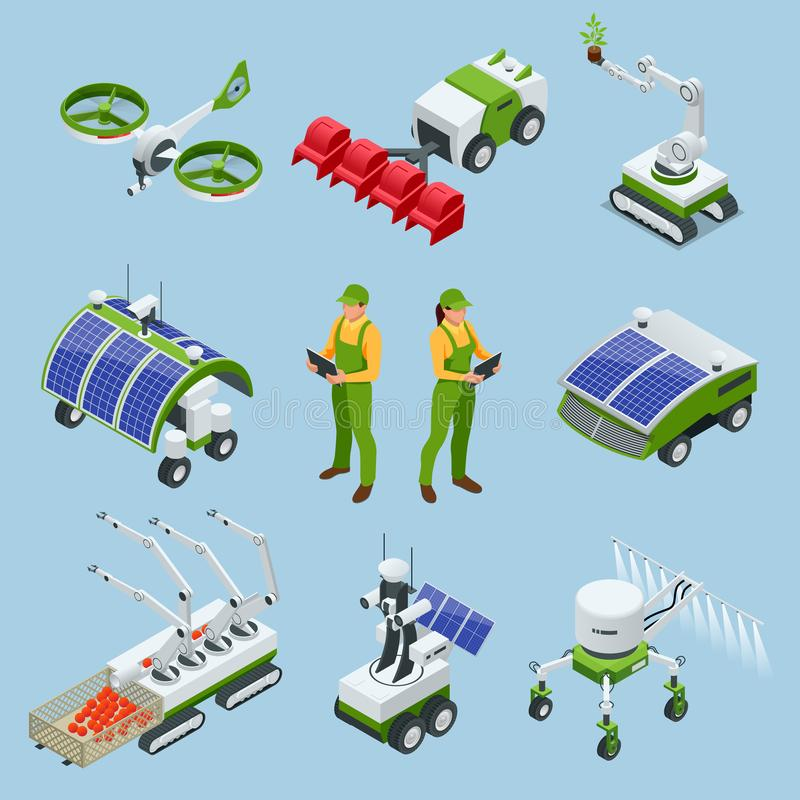 Isometric set of iot smart industry robot 4.0, robots in agriculture, farming robot, robot greenhouse. Agriculture smart. Farming technology vector illustration royalty free illustration