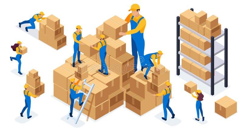 Isometric set magazynowi pracownicy które składają pudełka, wysyłają towary, pomagają each inny royalty ilustracja
