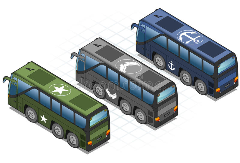 Download Isometric Set Of Military Buses Stock Vector - Illustration: 28710789