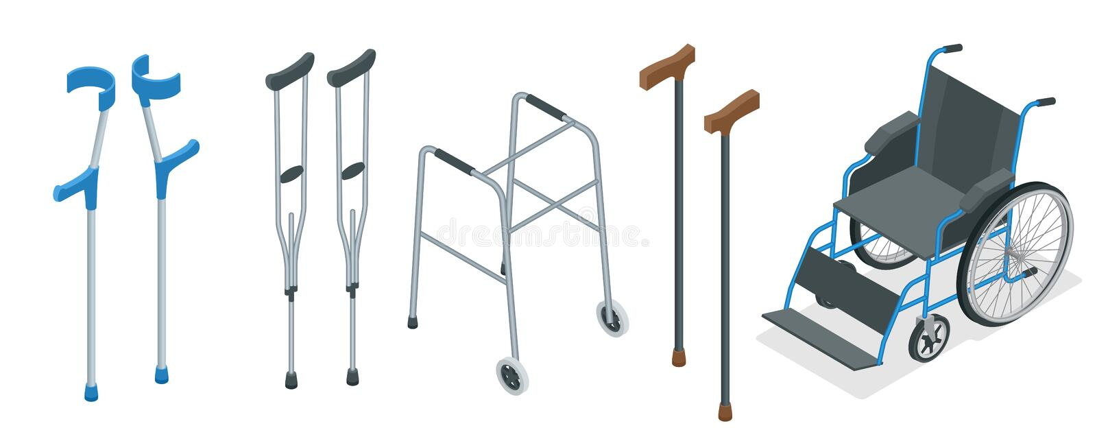 Isometric set of mobility aids including a wheelchair, walker, crutches, quad cane, and forearm crutches. Vector. Illustration. Health care concept stock illustration