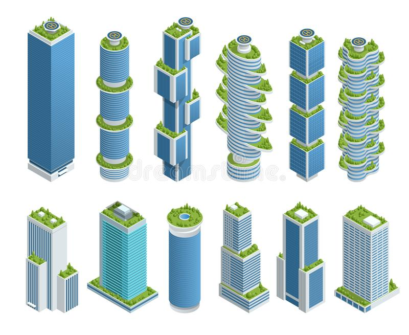Isometric set of Modern Ecologic Skyscraper with many trees on every balcony. Ecology and green living in city, urban royalty free illustration
