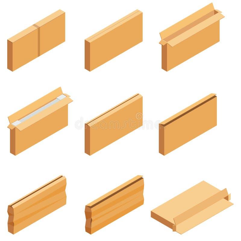 Isometric set odizolowywający na białym tle brązu karton Isoleted wektoru ilustracja Otwiera pustego i zamyka ilustracja wektor