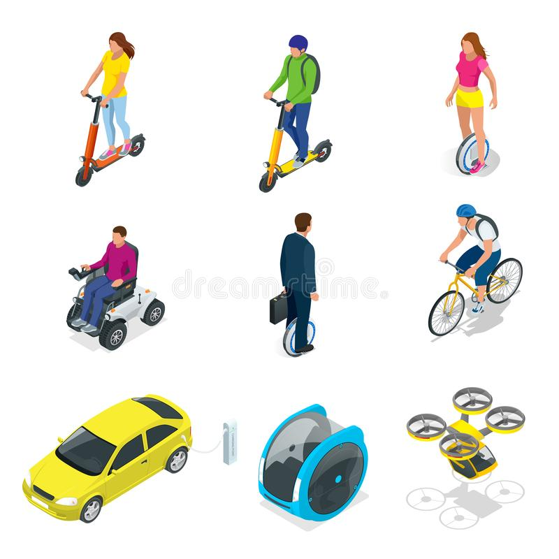 Free Isometric Set Of Alternative Eco Transport Isolated On A Background. Modern Bike, Electric Car With Solar Panels Stock Image - 148569521
