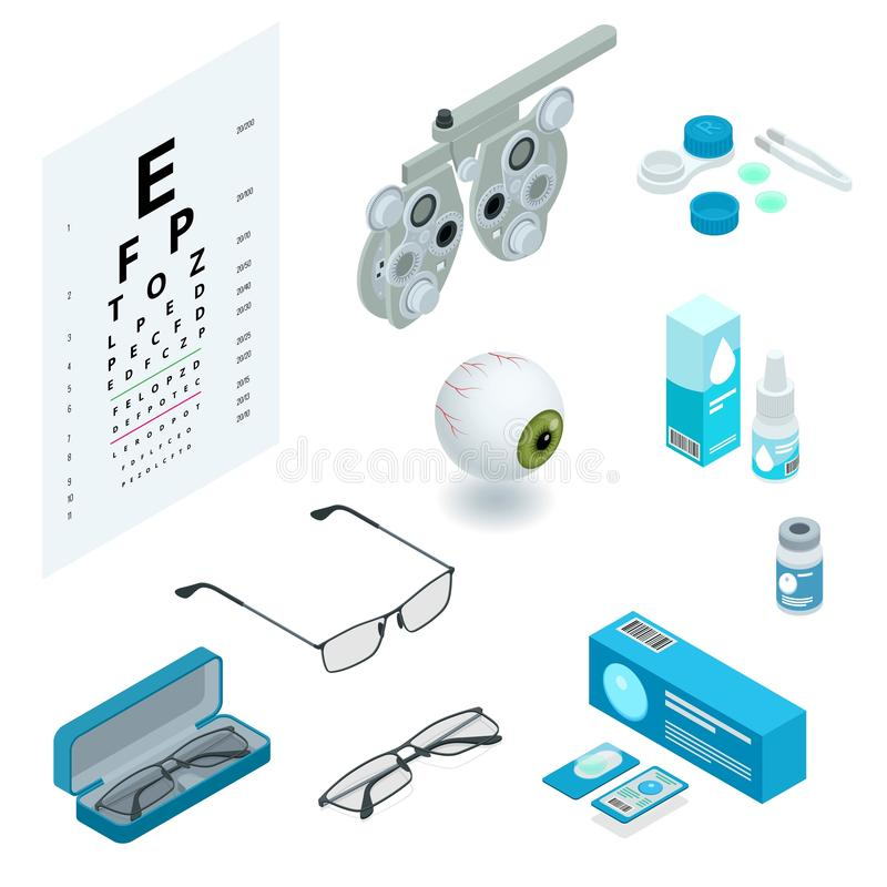 Free Isometric Set Of Ophthalmology And Eye Care Icons. Medical Health Equipment. Check Eyesight For Eyeglasses Diopter. Stock Photos - 158188323