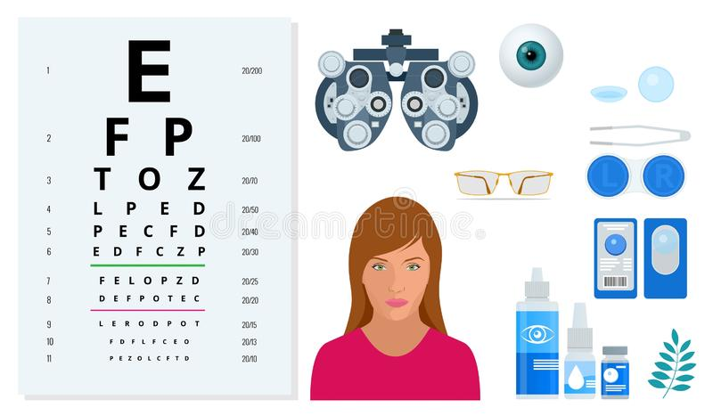 Isometric set of Ophthalmology and eye care icons. Medical helth equipment. Check eyesight for eyeglasses diopter. royalty free illustration
