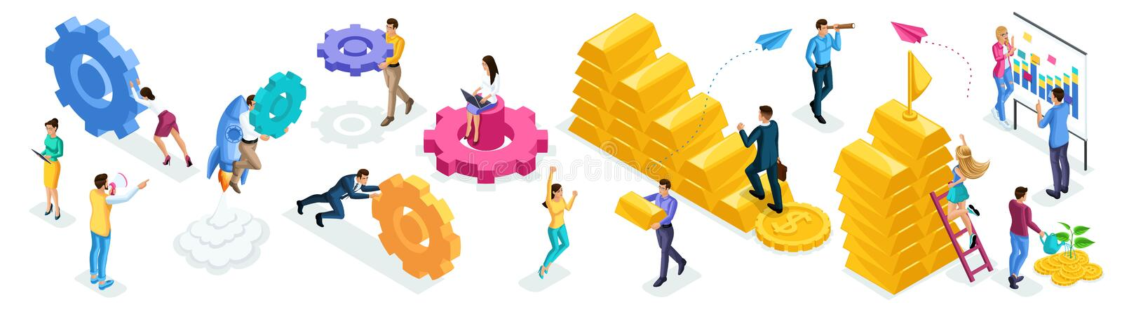 Isometric set of people and business icons on a white background. People in the process of work, brainstorming, teamwork royalty free illustration