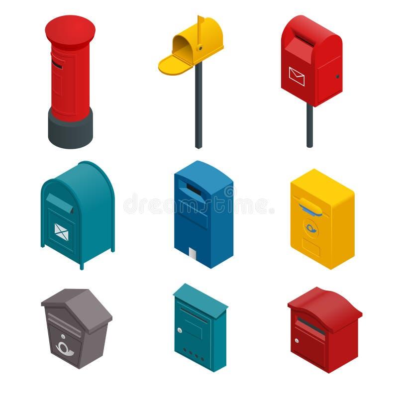 Isometric set poczta postbox, kolekci pudełko, skrzynka pocztowa, listowy pudełko lub kropli pudełko pudełkowaty lub pisać, Płask ilustracja wektor