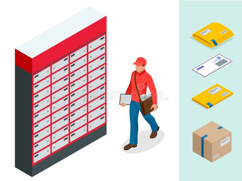 Isometric set of Post Office, Postman, envelope, mailbox and other attributes of postal service, point of correspondence. Delivery icons. Postal services icon stock illustration