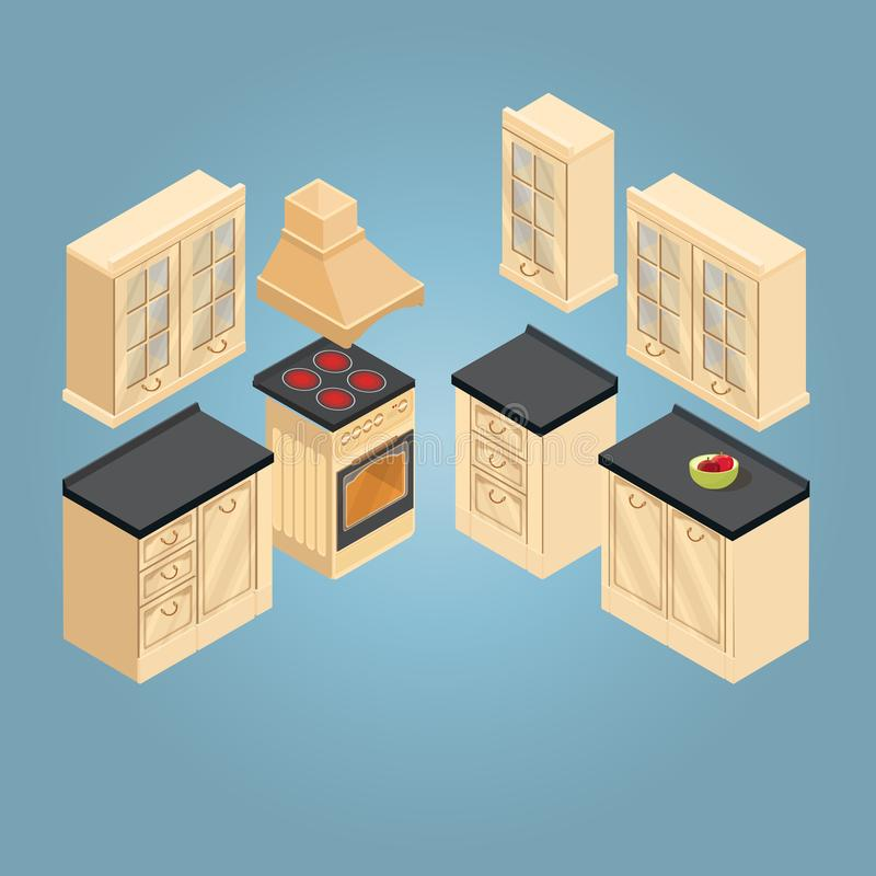 Isometric set of retro kitchen furniture icon. Vector. royalty free illustration