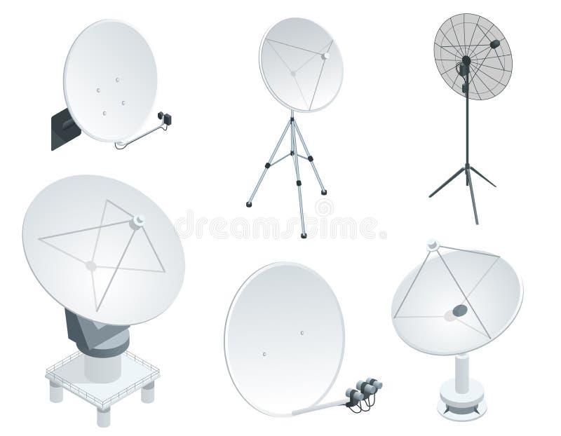 Isometric set Satellite dish antennas on white. Wireless communication equipments. vector illustration