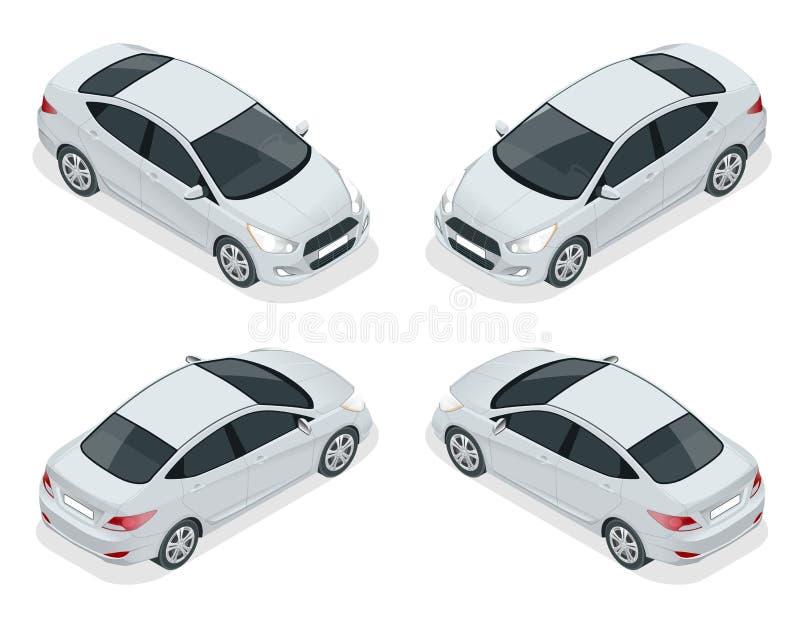 Isometric set sedan samochody Ścisły Hybrydowy pojazd Życzliwy technika samochód Odosobniony samochód, szablon dla oznakować i royalty ilustracja