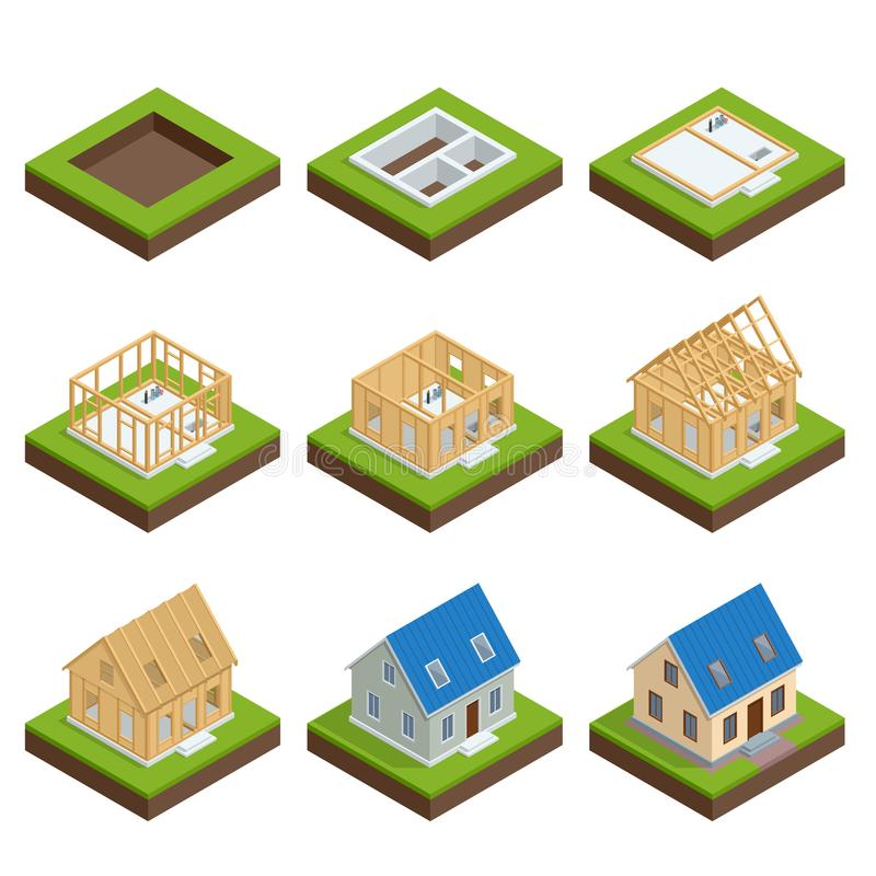 Isometric set stage-by-stage construction of a blockhouse. House building process. Foundation pouring, construction royalty free illustration