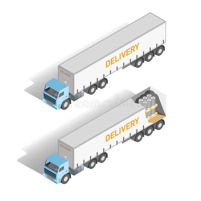 Isometric set truck inside and outside. Vector. Isometric icon set representing truck inside and outside. Vector illustration stock illustration